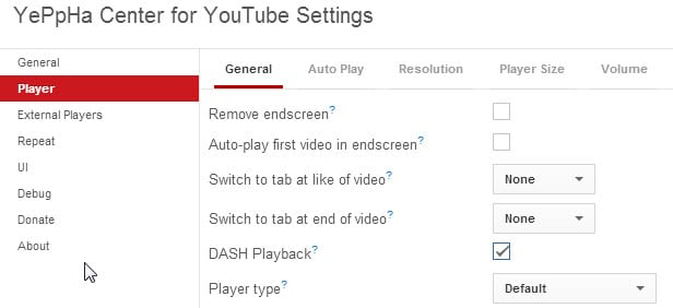 youtube buffering setting Yeppha