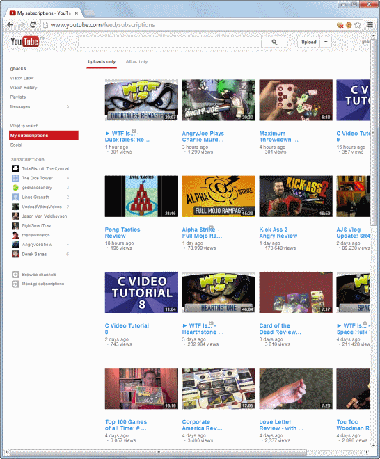 youtube subscriptions grid look