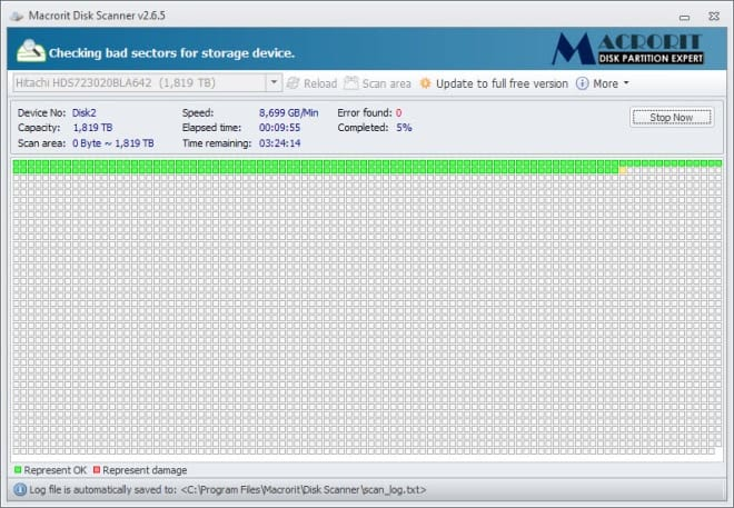 Windows disk scanner