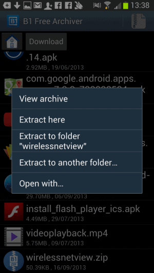B1 Free Archiver: create and extract archives on Android