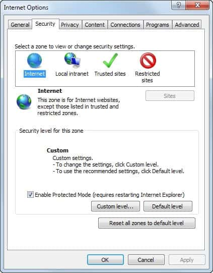 How to turn off enhanced protected mode in Internet Explorer 10 or