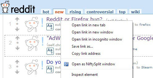open as niftysplit window
