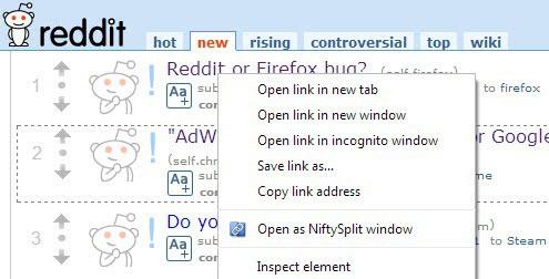 open as niftysplit window