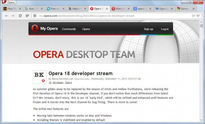 opera 18 developer