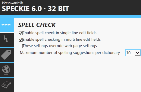 speckie 6.0 spell checking settings