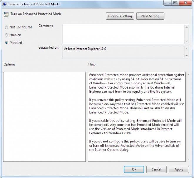 turn off enhanced protected mode group policy