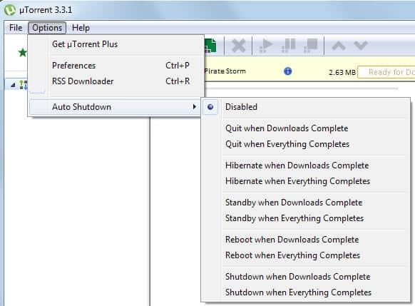 utorrent auto shutdown