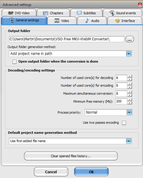 video converter settings