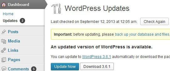 wordpress 3 6 1 update