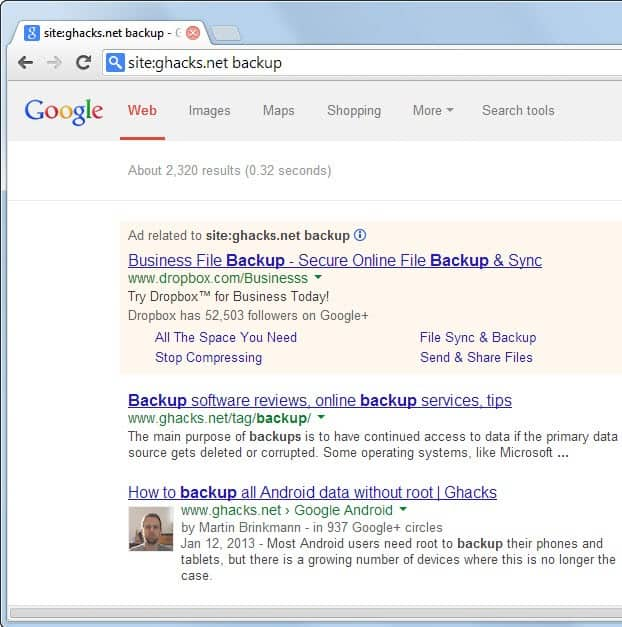 chrome site search engine