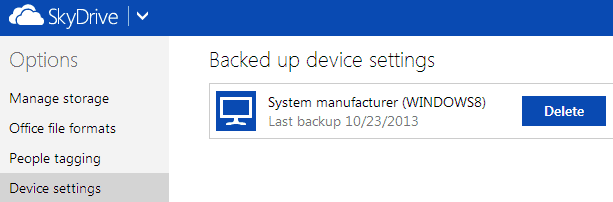 delete backed up settings