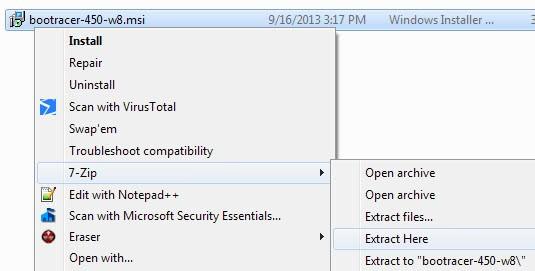extract msi files