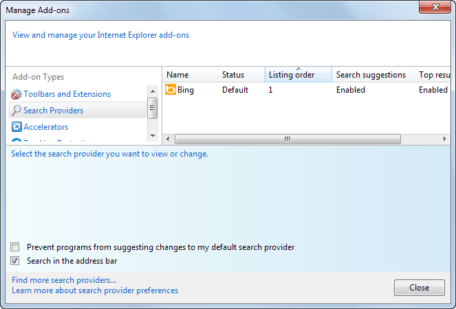internet explorer search providers