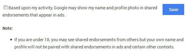 no shared endorsements google