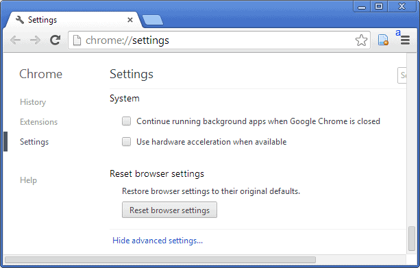 Method 1: Reset Chrome to default from Chrome settings This will reset your homepage, new tab pages, and search engine, disable your extensions and unpin all tabs. It will also clear other temporary and cached data, such as cookies, content and site data.