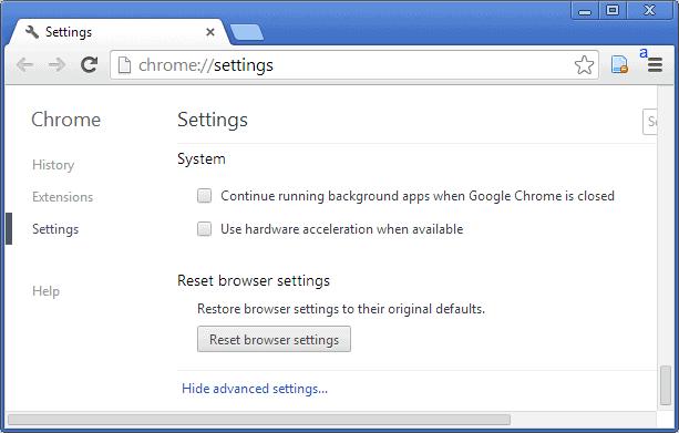 reset browser settings google chrome