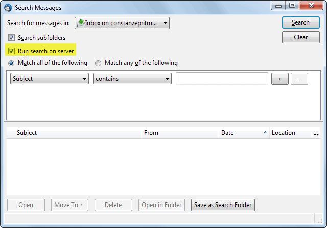 run search on server