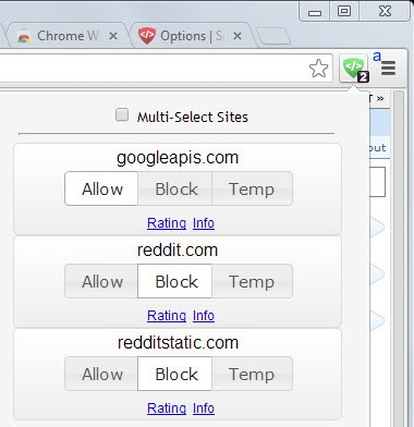 ScriptBlock for Chrome blocks scripts from running
