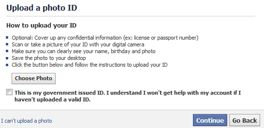 upload a photo id