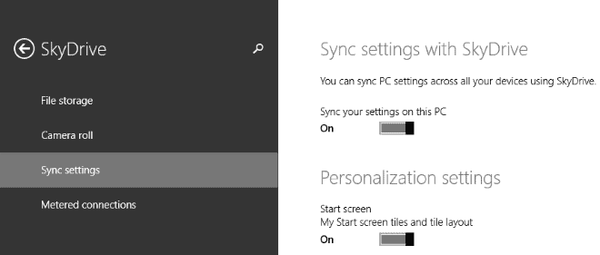 windows 8.1 sync settings skydrive