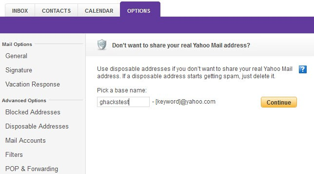 yahoo mail disposable address