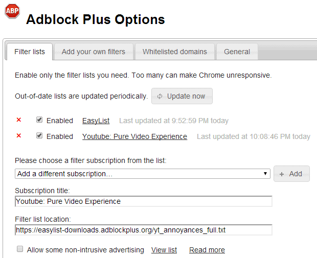 adblock plus youtube filter