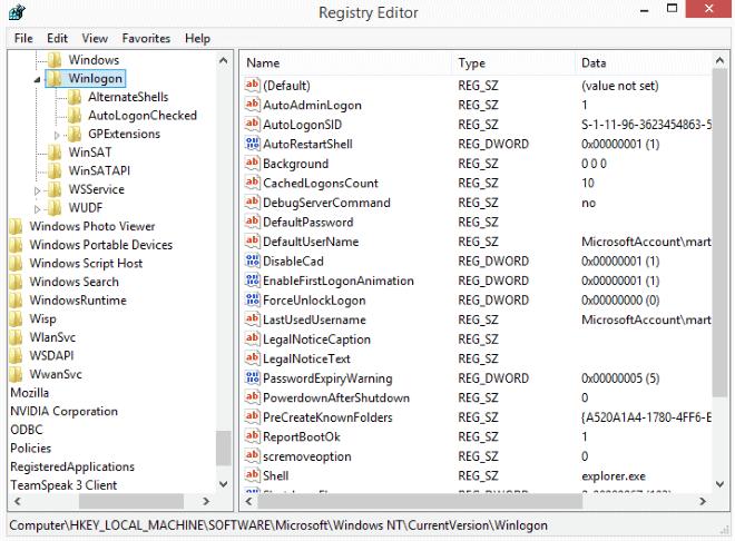 automatic logon windows 8 with microsoft account