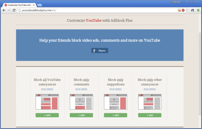 customize youtube with adblock