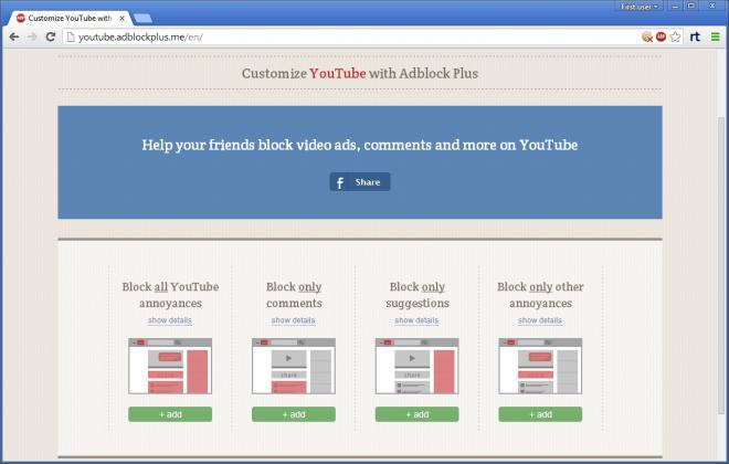 customize youtube with adblock