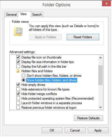 display hidden files folders windows 8