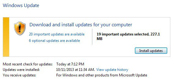 windows updates november 2013