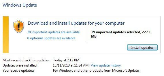 windows updates november 2013
