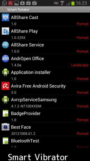 android individual screen rotation settings