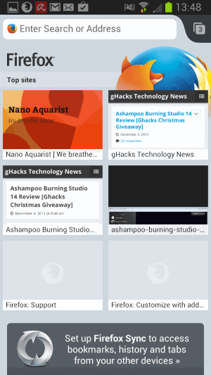 firefox android top sites