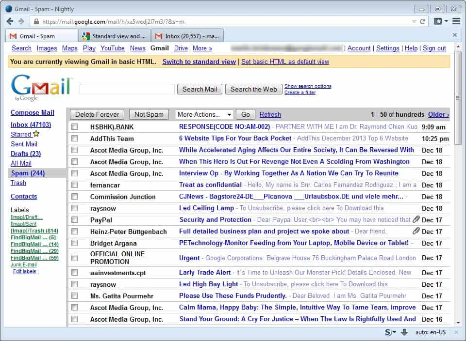 gmail basic html view