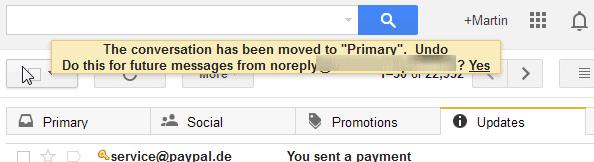 gmail mark primary