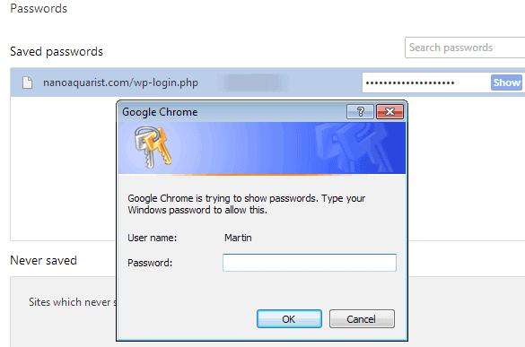 google chrome master password