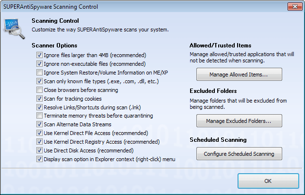superantispyware scanning control