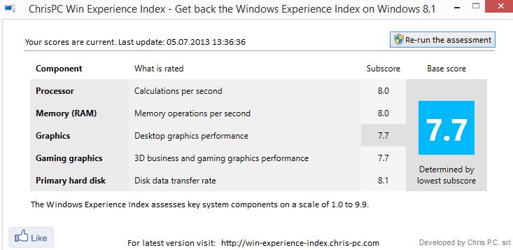 win experience index windows 8