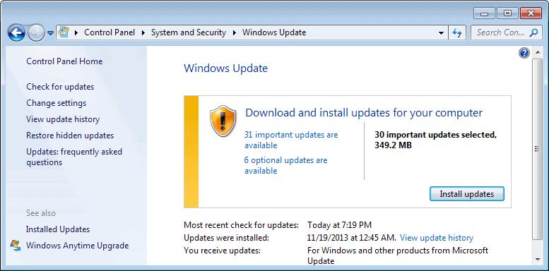 windows updates december 2013