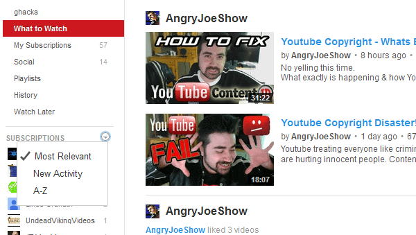 youtube subscriptions sort