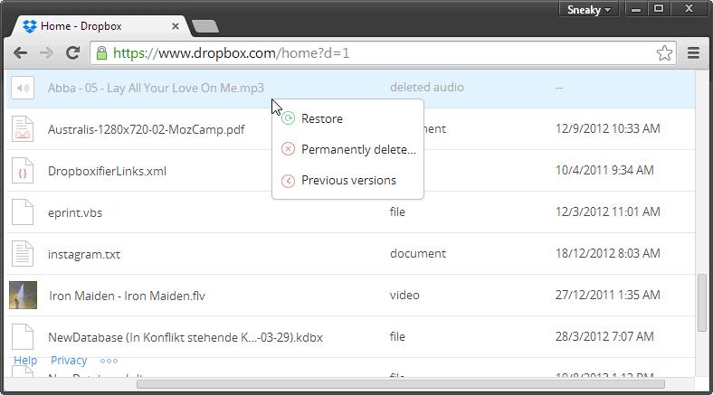 dropbox restore deleted files