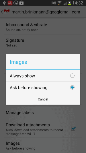 gmail android block images