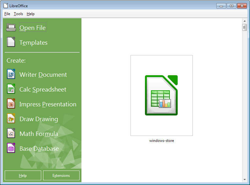 libreoffice start screen