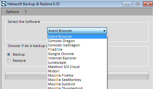 Hekasoft Backup & Restore backs up browsers and other