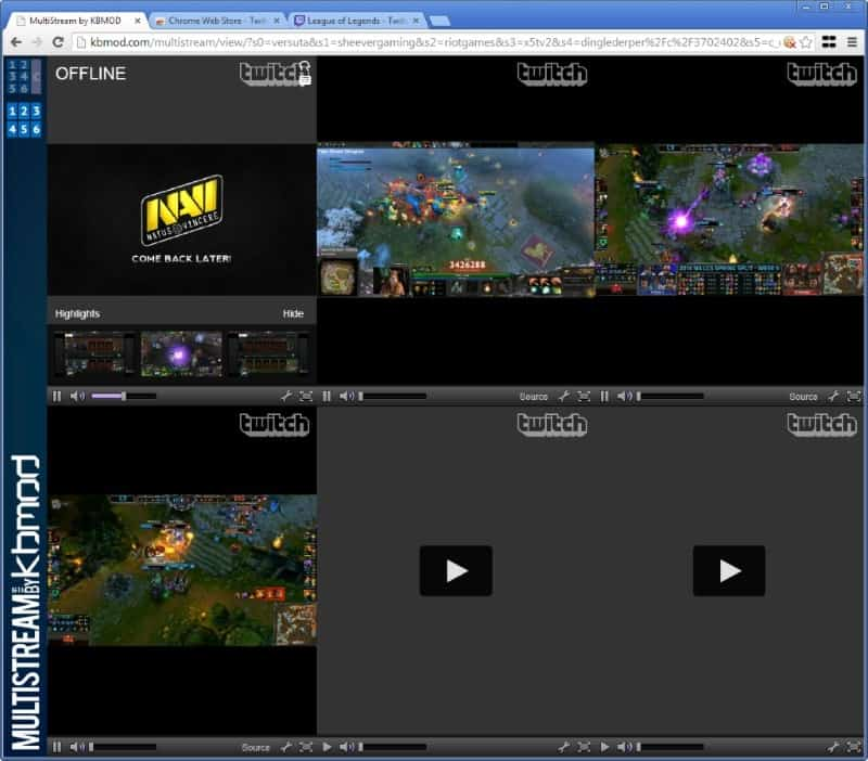 Use Multistream to stream several Twitch tv streams at once - gHacks