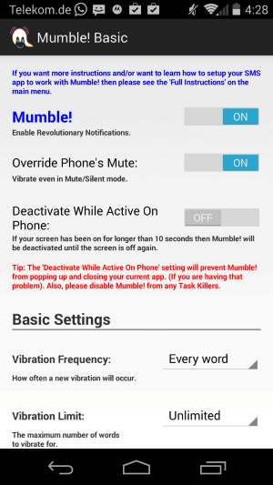 Mumble Basic improves text messaging notifications on Android