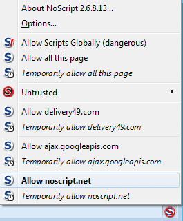 noscript permissions