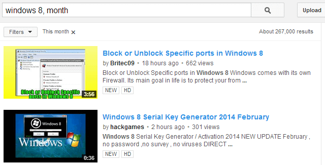 search youtube by time