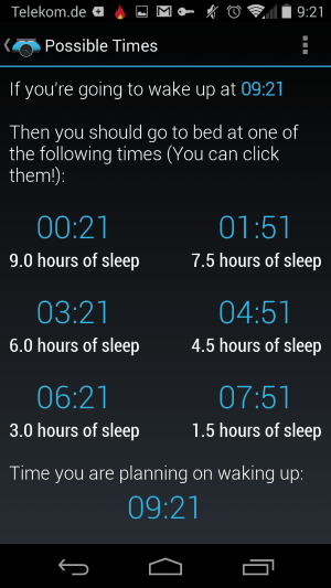 sleep alarm calculator